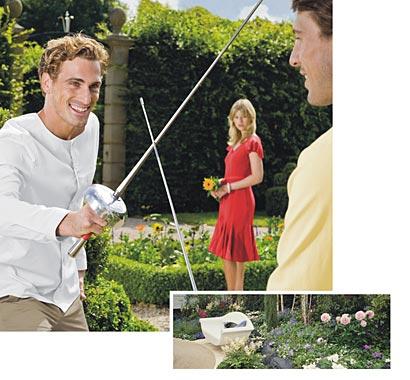 Formschnitt, Pflanzenpracht, Gartenteich, Natursteine, Rasen